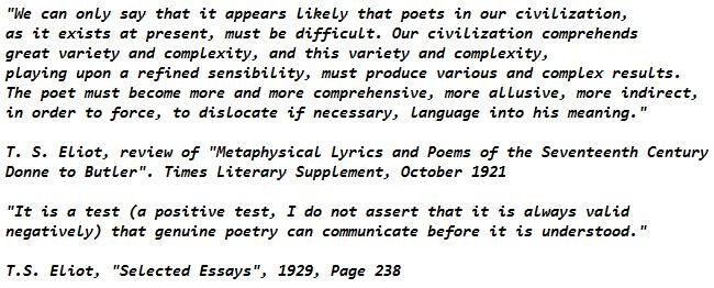 T. S. Eliot, review of Metaphysical Lyrics and Poems of the Seventeenth Century Donne to Butler Times Literary Supplement, October 1921 and Selected Essays 1929